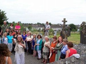 Noirin Ni Riain blesses Pilgrims at Fire Temple