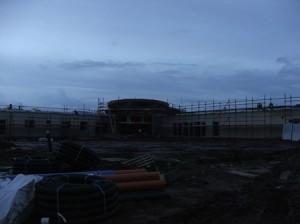 Sun sets on building