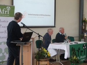 Joe Murray, Afri, introduces speakers, Bruce Kent and Colin Archer Bruce Kent & Colin Archer – Imagine… a World without War
